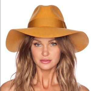 Brixton Mustard Wide Brim Piper Fedora Hat Medium